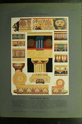 100+ year old antique vintage color print ancient The Greek Ornament Marble work