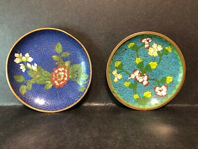 2 Antique Old Authentic Oriental Asian Chinese Cloisonne Enamel Tray Dish China