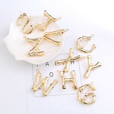 Girls 26 Letters Golden Hair Clips Lovely Sweet Bangs Hairpins Hair Accessories