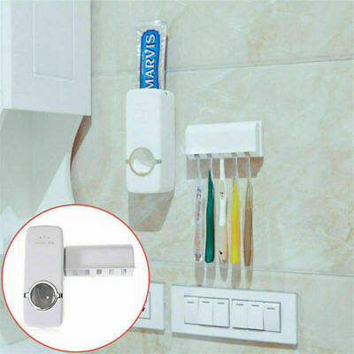 Toothpaste Dispenser + 5 Toothbrush Holder Auto Set Wall Mount Stand US Seller