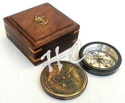 Antique Brass T. COOK Compass, Nautical DOLLOND LONDON Compass With Wooden Box