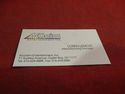 Acclaim Entertainment Video Game Company Retro Original Business Card