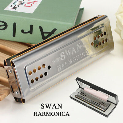 New Swan Harmonica 24 Holes Key of C&G Double Sided SILVER Tremolo Mouth