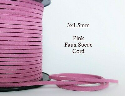 5 metres Pink Faux Suede Cord 3mm x 1.5mm Flat Soft Vegan Macrame Leather