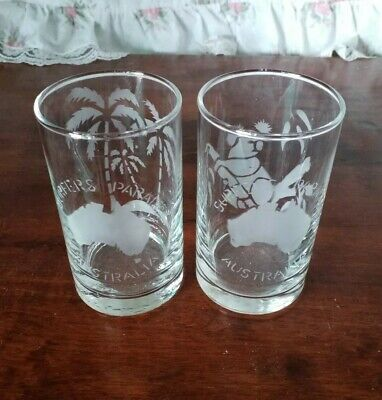 Collectable Surfers Paradise Souvenir Glasses x Two - Koala & Palm Trees