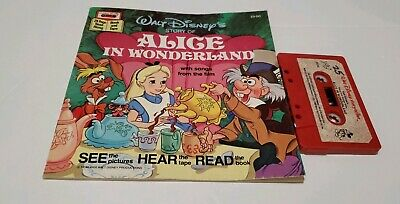 WALT DISNEY Read Along Book and CASSETTE TAPE Alice in Wonderland Vintage
