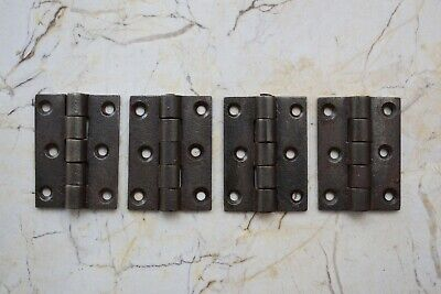 cast Iron French Gothic gate door tool box trunk chest hinges Barn Rusty 4 pcs