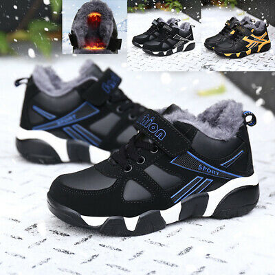 Kids Winter Snow Fur Lined Boots Boys Girls Trainers Outdoor Hiking Warm Shoes