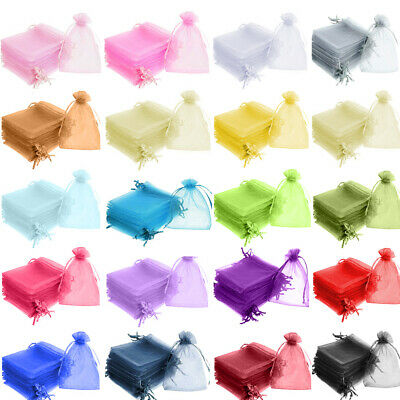 100 ORGANZA BAGS Small Large Favour Gift Candy Bag Jewellery Pouch Wedding Party