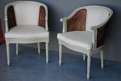 French antique Louis XVI style carved bergere armchairs ornate carved tub chairs