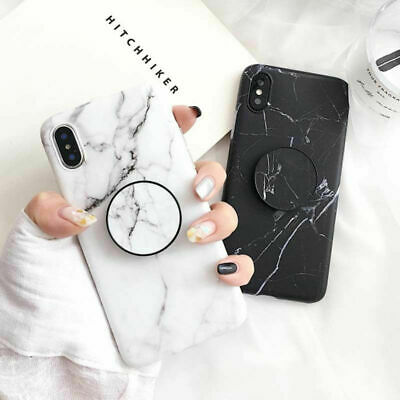 Marble Back Case for iPhone X 6s 7 8 Plus Cover With Pop Up Holder Socket Relief