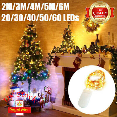 20/30/40/50/60 LED Battery Micro Rice Wire Copper String Fairy Lights Xmas UK