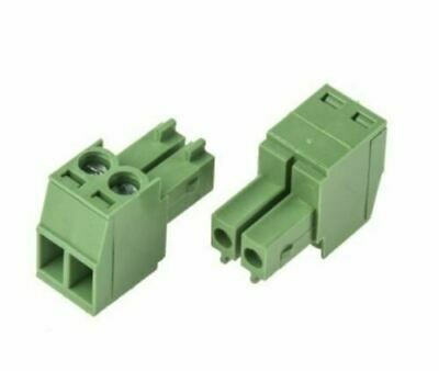 Right Angled 2 Way Pluggable Terminal Block Power Cable Connector PCB Screw In
