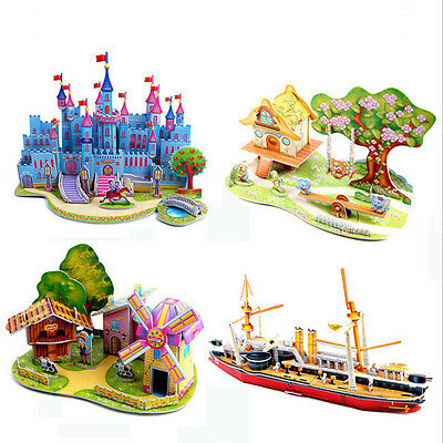 3D DIY Puzzle Jigsaw Baby Toy Construction Gift For Children Houses Puzzle new.