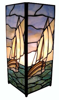 27Cm Tiffany Style Table Lamp Sailing Boat Square Glass Shade + Light Bulb