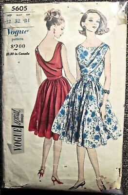 Vtg Vogue Sleeveless Ladies Drape Front & Back Bodice Dress Pattern #5605 Sz12