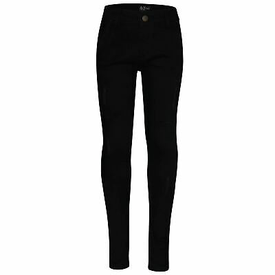 Kids Boys Skinny Jeans Jet Black Denim Ripped Bikers Slim Fit Stretchy Trouser