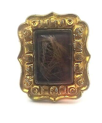 Antique Victorian  Ornate Gold GF :Large Memorial Hair Ring Size 6 3/4 #SE63