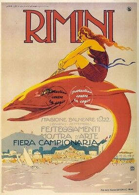 RIMINI FIERA 1922 Royl-REPRODUCTION 50x75(*) d1 AFFICHE VINTAGE/ANCIENNE/RéTRO