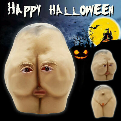 Latex Butt Hip Head Mask Adult Halloween Creepy Party Cosplay Costume Prop Gift