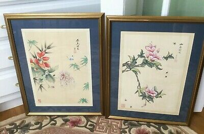 Pair Chinese Silk Hand Painted Floral Paintings Framed Signed