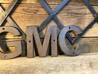 Cast Iron GMC Cars Pontiac Sign Gas Pump Oil Can Gulf Shell Porcelain Buick Old