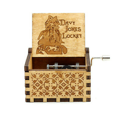 """""""Pirates of the Caribbean"""" Music Box Carved Wooden Hand Crank Birthday Kids Gift"""