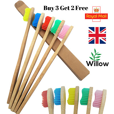 Biodegradable Bamboo Toothbrush With Natural Wooden Handle And Medium Bristles