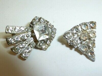 TWO Early 1900's Antique Art Deco Clear Rhinestone Pot Metal Scatter Pins