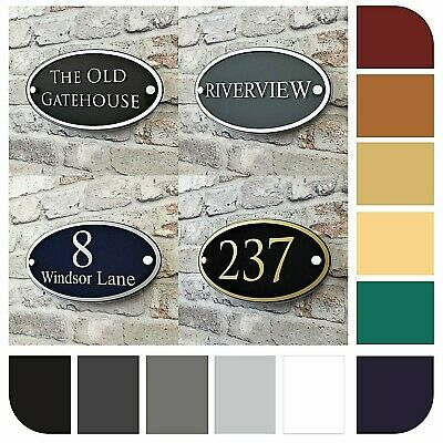 Personalised House Address Plaque or Number Signs Contemporary Oval Name Plates