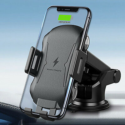 Qi Fast Wireless Car Charger Mount Automatic Clamping Air Vent Clip Phone Holder