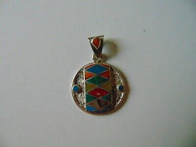 """South American"" Made Hand Cut Sterling Silver & Semi-Precious Stone Pendant"