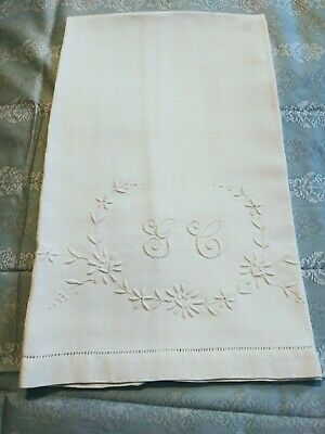 "Gorgeous Heavy Linen Show Towel 34.5"" by 21"" with Embroidered Initial ""GC"""