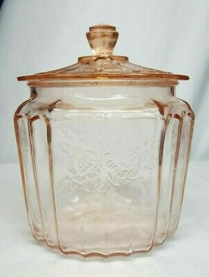 Anchor Hocking MAYFAIR Pink Depression Glass Cookie BISCUIT JAR w Lid OPEN ROSE