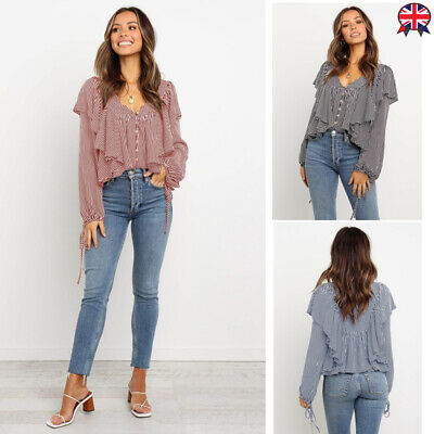 Womens Ruffles Tie Cuff Long Sleeve Striped Shirts Button V Neck Blouse Casual