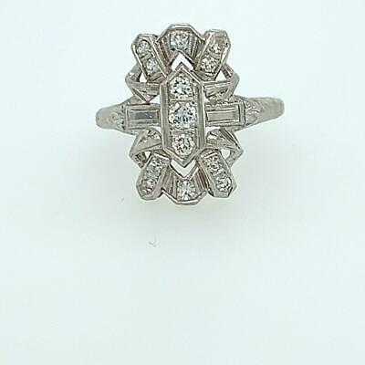 GENUINE ANTIQUE ESTATE RING 0.20TCW Round Cut Diamonds In Solid 18k White Gold