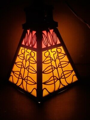 Original Antique Slag Stained Glass Mission Style Hanging Lamp (working)