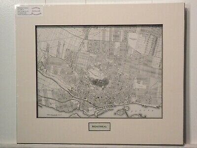 Antique Original Rand McNally Map of Montreal, lift-matted with inset title