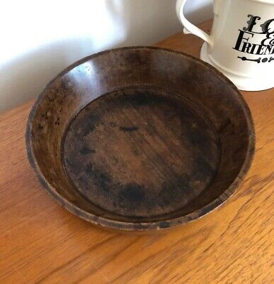 Vintage Hand Turned Wooden Fruit Bowl Used Lots of Character