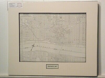 Antique Original Rand McNally Map of Detroit MI, lift-matted with inset title