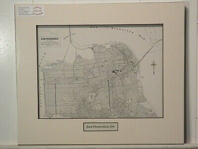 Antique Original Rand McNally Map of San Francisco CA, matted with inset title