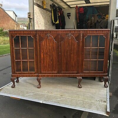 """antique glazed bookcase , display cabinet, 6ft1""""wide x 14"""" deep x 44"""" high"""