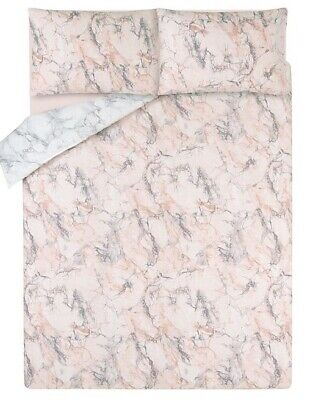 Pink and Grey Marble Effect Duvet Set Size: Single Double King