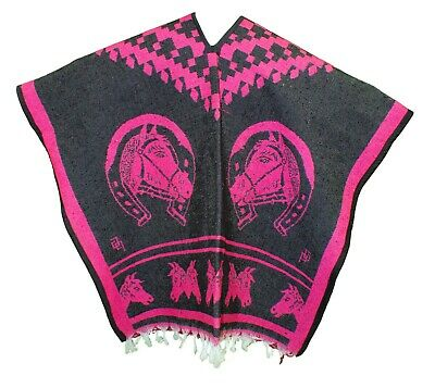 HEAVY BLANKET Mexican PONCHO COWBOY 5 PINK Horses ONE SIZE FITS ALL