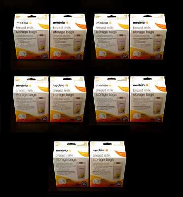 Medela Breastmilk Storage Bags 6 oz with Transport Pouch 10 Boxes 500 Bags Total