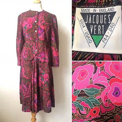 Vintage 1980s Jacques Vert Pink Wool Suit Skirt Blouse Occasion Size 12 14