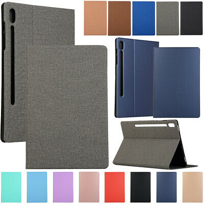 """For Samsung Galaxy Tab S6 10.5"""" SM-T860 T865 Slim Canvas PU Leather Case Cover"""