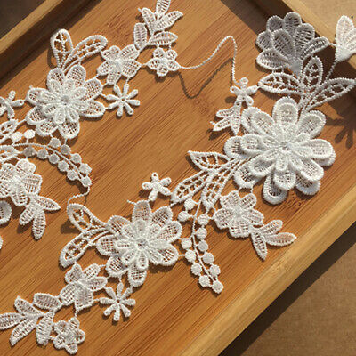 1Set Flower Embroidery Motif Lace Applique Patch DIY Sewing Trimming Craft F2Q4