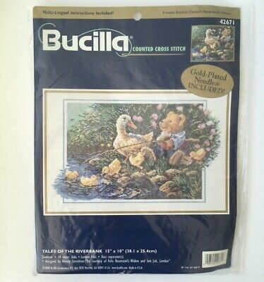 Bucilla Counted Cross Stitch Kit - Tales of the Riverbank - Bear Ducks Fishing