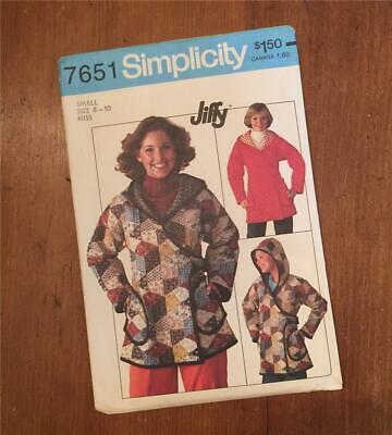 Vintage SIMPLICITY Sewing Pattern 7651 - Size Small 8 - 10 Hooded Jacket - UNCUT